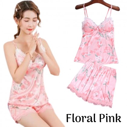 VIRENE Korean Fashion Women Sleepwear Camisole (Include Bra Pad) + Pants Sexy Lingerie Ladies Night Wear Soft Comfy Skin-friendly Satin Sleep Wear Ready Stock 210098
