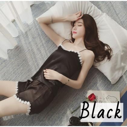 VIRENE Korean Fashion Sexy Sleepwear Set Women Sleep Wear Ladies Nightwear Pajamas (Camisoles + Pants) Woman Night Wear Ready Stock 119928