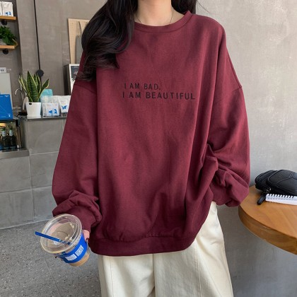 Korean Fashion Women Sweater Simple Design Long Sleeve Non-hooded Shirt Premium Quality Casual Woman Blouse Baju Viral Lengan Panjang Ready Stock 213399