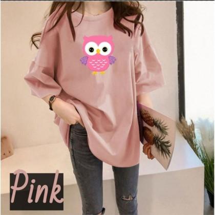 Korean Fashion Owl Printing Women Short Sleeve T-Shirt 2021 Summer Shirt Woman Loose Top Basic Outfit Tee Ready Stock 210080