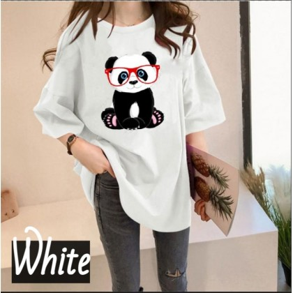 Korean Fashion Panda Printing Women Short Sleeve T-Shirt Woman Loose Top 2021 Summer Cute Shirt Lovely Basic Outfit Tee Ready Stock 216680