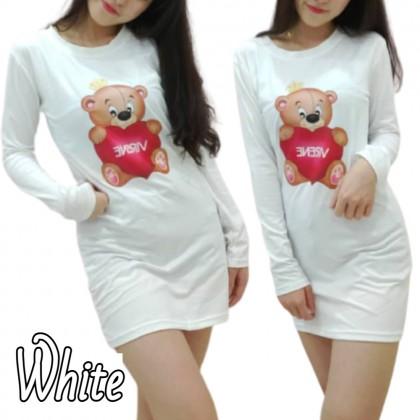 Korean Fashion Bear Printing Top Women Long Sleeve Shirt 2021 Summer Lovely Blouse Casual Cloth Basic Outfit Tee Baju Viral Lengan Panjang Ready Stock 229602
