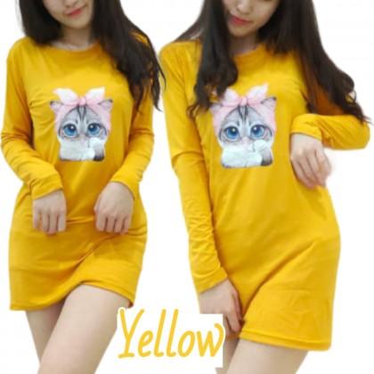 Korean Fashion Women Long Sleeve Shirt Lovely Cat Printing Blouse 2021 Summer Cloth Casual Top Basic Outfit Tee Baju Viral Lengan Panjang Ready Stock 229902
