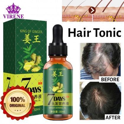 King of Ginger 7 Days Ginger Germinal Oil Hair Tonic Growth Essence Anti-Fall Hair Treatment Care Minyak Nutrien Rambut 姜王头发营养液 Ready Stock 305855