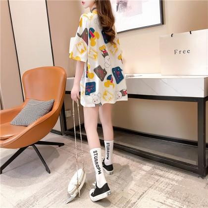 Korean Fashion Women T-Shirt XX Mickey Design Top Men Casual Short Sleeve Shirt Unisex Loose Tee 2021 Summer Outift Basic Shirts Baju Viral Murah Ready Stock 213040