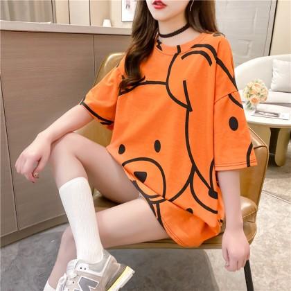 Korean Fashion Women T-Shirt Cute Bear Design Top Casual Short Sleeve Shirt 2021 Summer Blouse Basic Outfit Baju Viral Murah Ready Stock 213342
