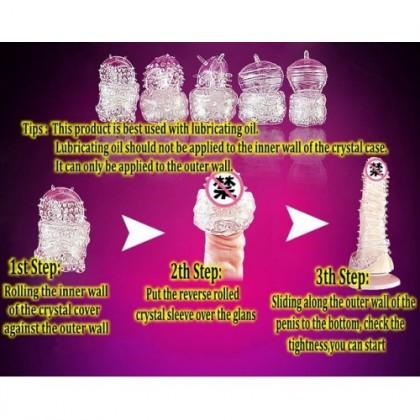 Condom【5 Design Perpack】 Silicone Crystal Condom Reusable Elastic Condom Sex Toys [ 100% Privacy Delivery] Ready Stock 011114