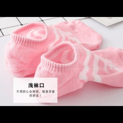 Women Invisible Socks【5 Pairs Perpack】Number Design Unisex Cotton Socks Free Size Ankle Socks Ready Stock 011583